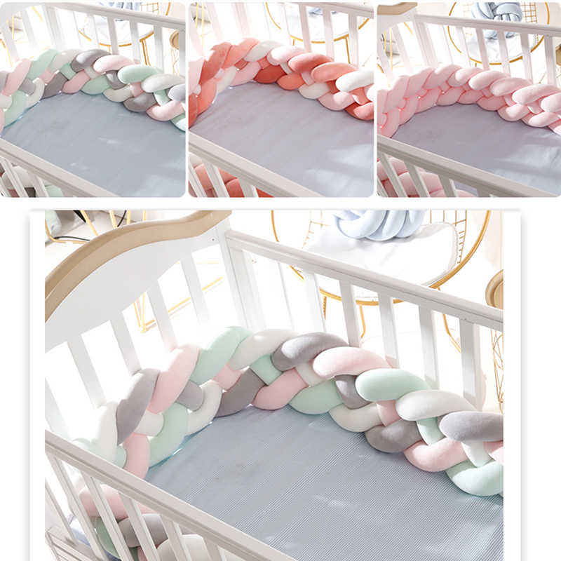 Newborn Cot Crib Baby Cushion Bumpers Nursing baby knot Weaving Cushion bedding toddler bed fashion baby room accessories YYJ003