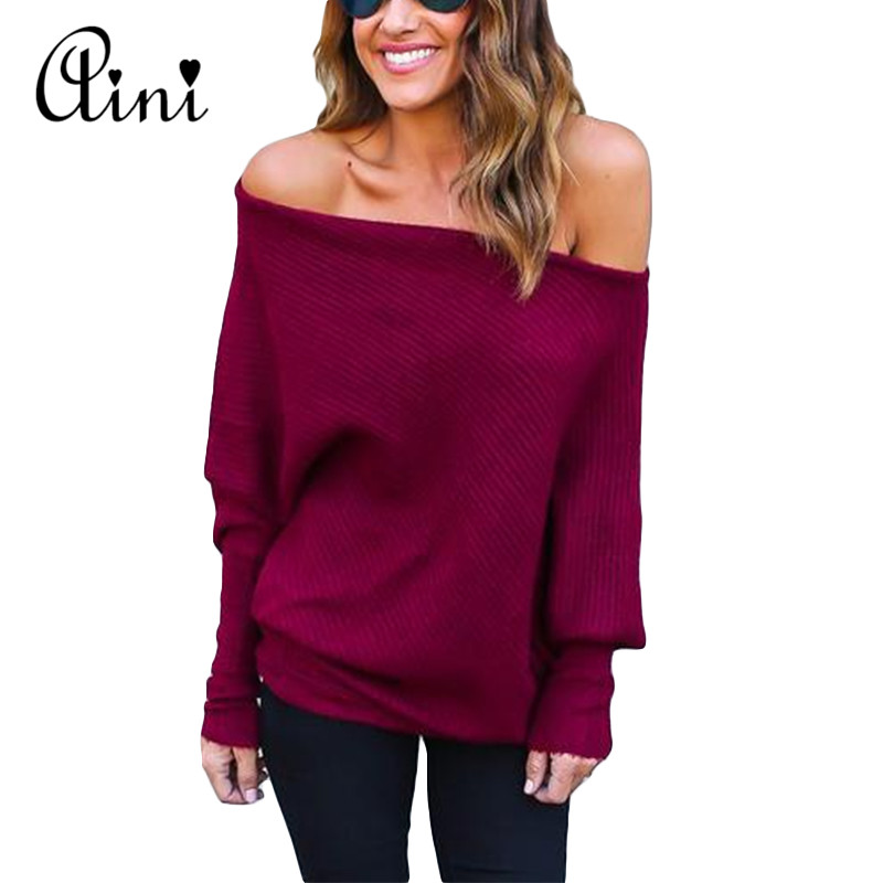 Plus Size 2019 Autumn Winter Cotton Sweaters Women Fashion Sexy Off Shoulder Sweater Loose Long Sleeve Plus Size Pullover Jumper