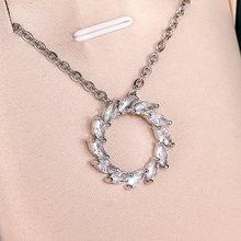 Huitan Simple Stylish Hollow Circle Pendent Necklace Women Dazzling Marquise Crystal Zircon Elegant Bridal Wedding Bands Jewelry