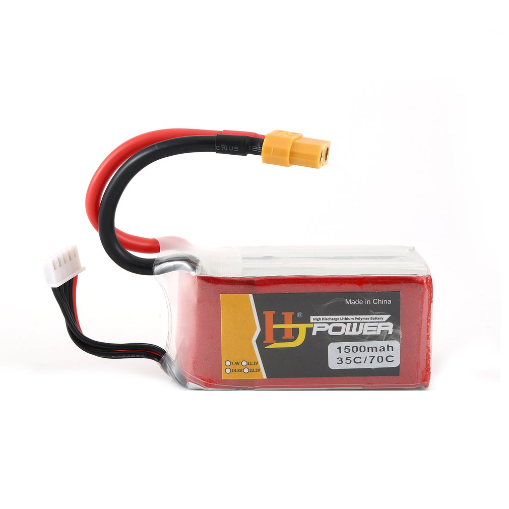HJ 14.8V <font><b>1500MAH</b></font> 35C <font><b>4S</b></font> <font><b>Lipo</b></font> Battery XT60 Plug Rechargeable for RC Racing Drone Helicopter Car Boat Model image