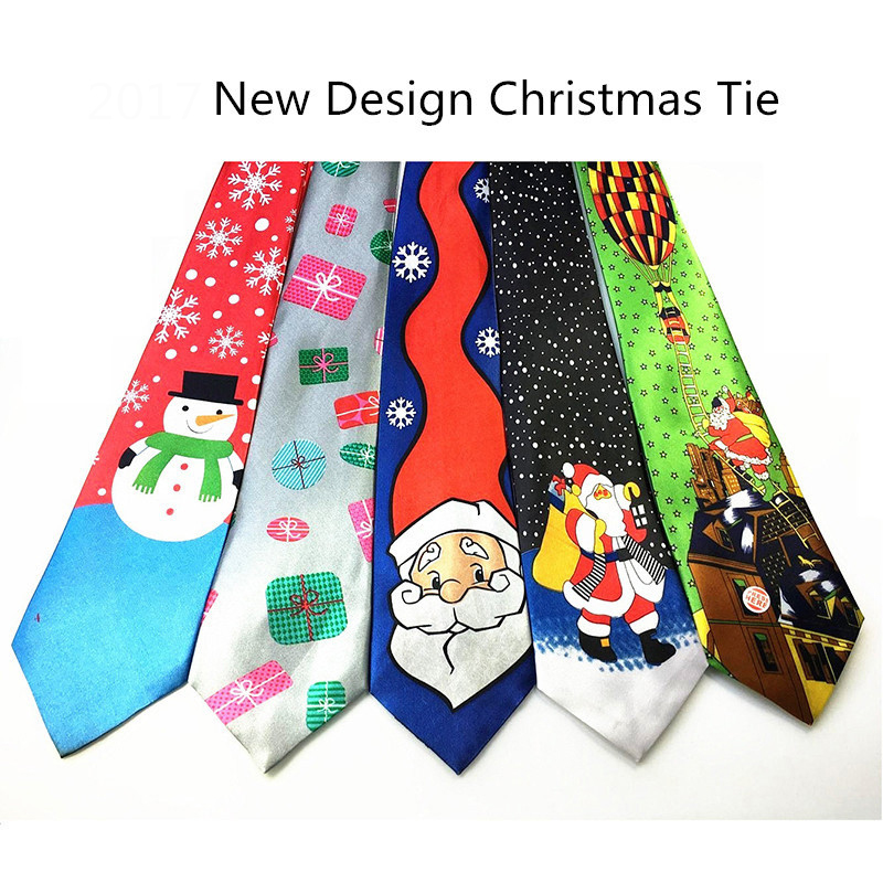 RBOCOTT Blue Printed Christmas Tie 9.5cm Green Tree Novelty Necktie Red Santa Claus Snowflake Neck Tie For Festival Gift