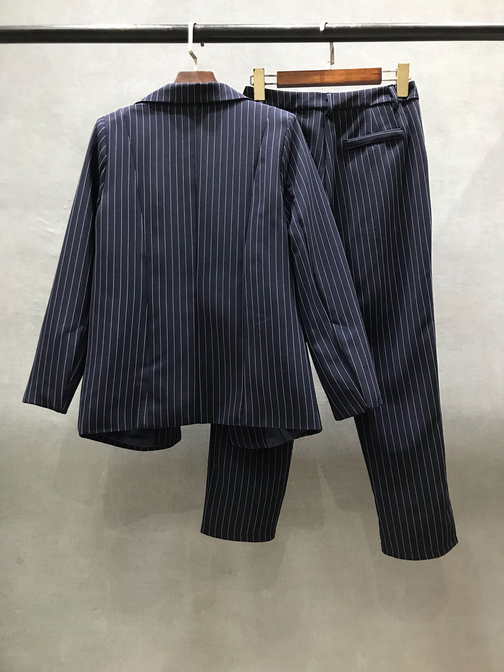 2020 High Fashion Women Elegant Striped Blazers and Pants Suit Three-piece Sets