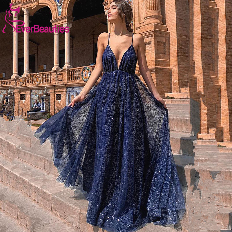 Sparkly Gold Backless   Evening     Dress   Long Spaghetti Straps V-Neck Prom Party   Dresses   2019 Abiye Gece Elbisesi