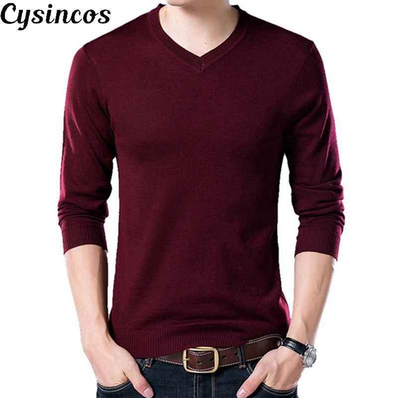 CYSINCOS Autumn Casual Solid Basic Men Sweater V-neck Slim Mens Pullover Knitting Sweaters Long Sleeve Men Sweater Plus Size