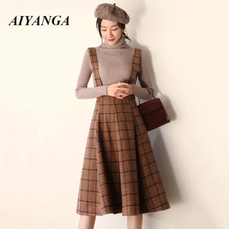2019 Autumn Winter Woolen Skirt For Women Fashion Strap Skirts High Waist Long Vintage Plaid Skirt Lace Up Female S M L XL