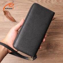 NUPUGOO – portefeuille Long en cuir véritable pour homme, pochette Business de bonne qualité