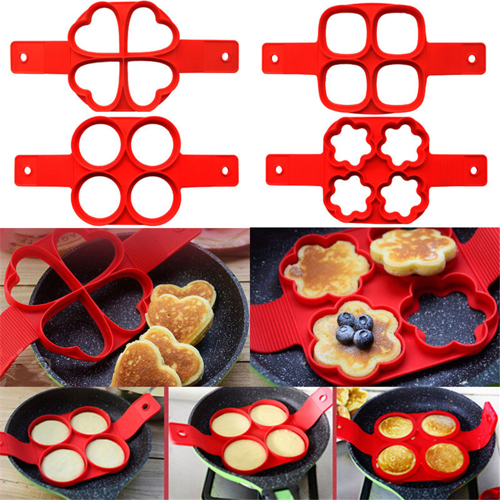 Silicone antiaderente fantástico ovo fabricante de panqueca anel cozinha cozimento omelete moldes aleta fogão molde