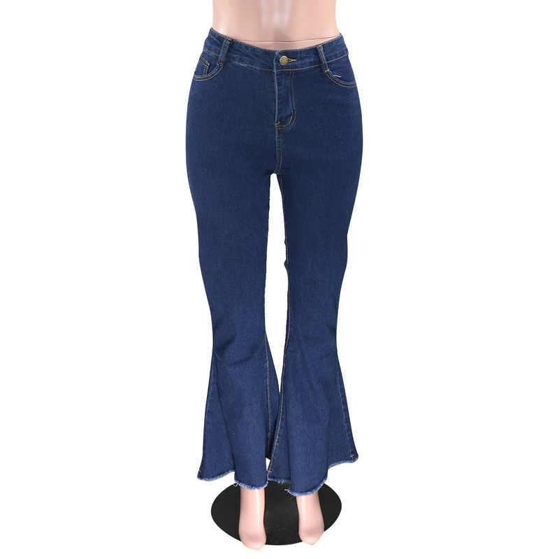 Yüksek bel rahat Flare denim pantolon kadın moda Push Up çan dipleri uzun pantolon Streetwear Bodycon artı boyutu kot pantolon Pantalon