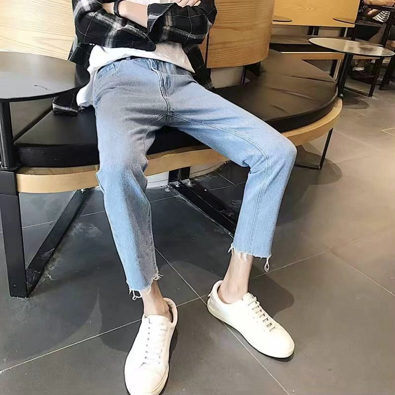 With Holes Jeans Men's Slim Fit Pants Light Color Flash Capri Pants Thin Summer New Style Trend Teenager Students