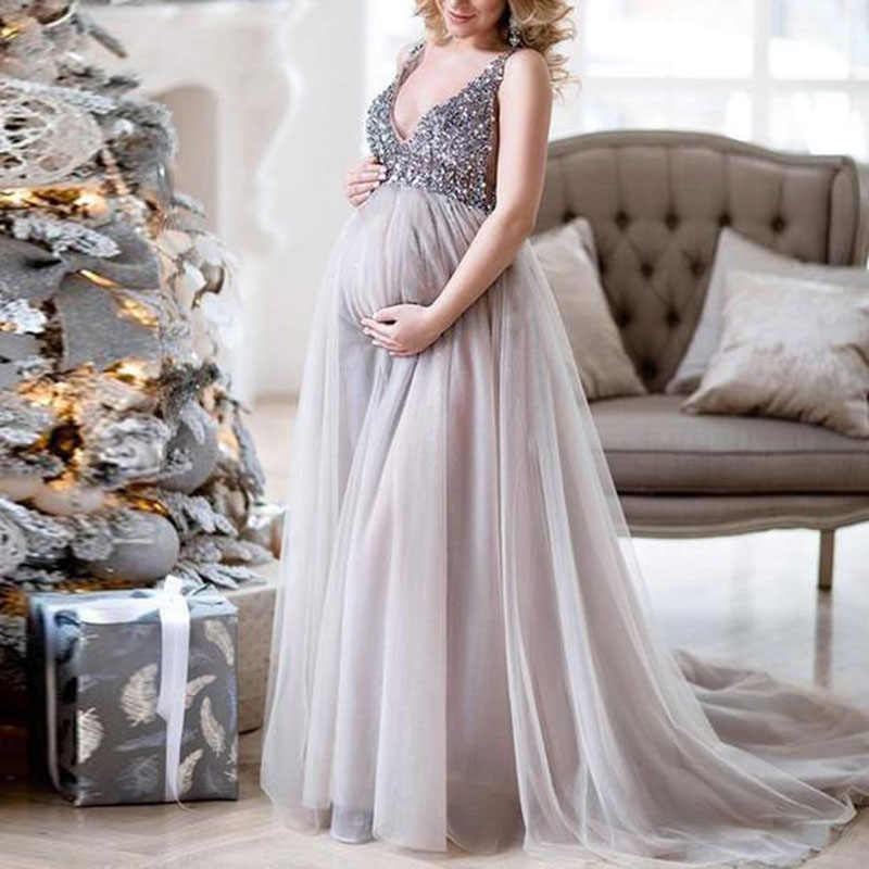 New Beautiful Maternity Women Evening Dress Pleated Maxi