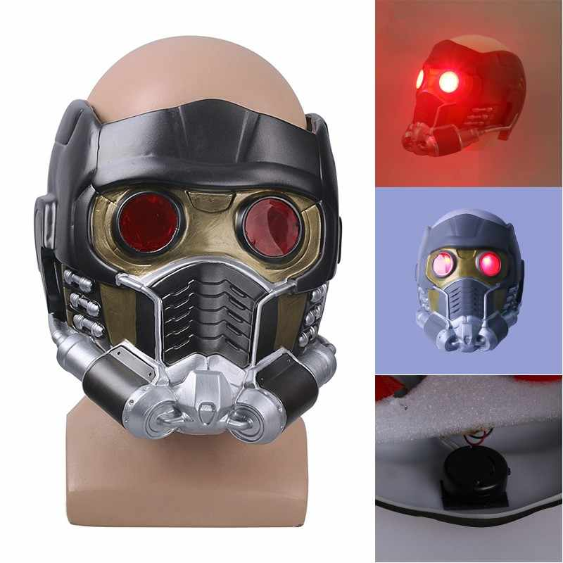Guardians Of The Galaxy Peter Jason Quill Star-Lord Cosplay LED Lateks Topeng