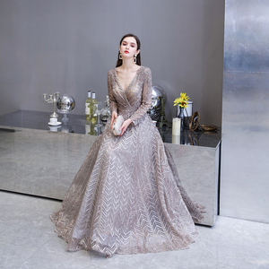 Image 3 - Dubai Luxury Long Sleeve Evening Dress 2020 Gorgeous V Neck Lace Pleated Beaded Crystal Sexy Formal Gown