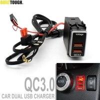Cargador rápido USB Dual para tableta de coche, adaptador QC3.0 de 12V, adaptador de puertos de carga rápida para teléfono, voltímetro LED, pantalla Digital para Nissan