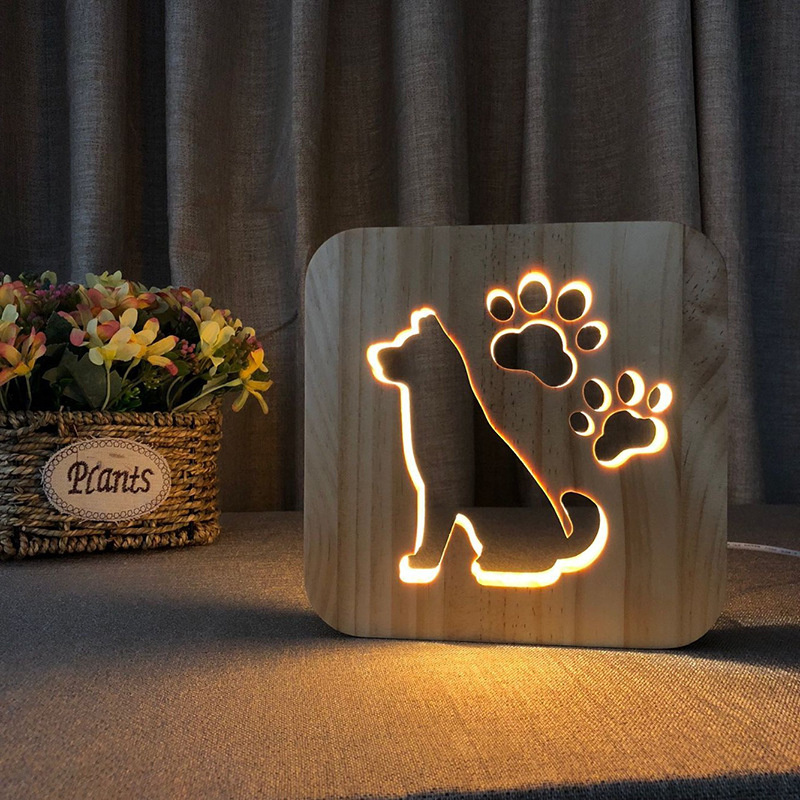 Wooden Creative Night Light Dog Paw Cat Animal 3D Light LED Novelty Decorative Table Lamp USB Holiday Children Christmas Gift