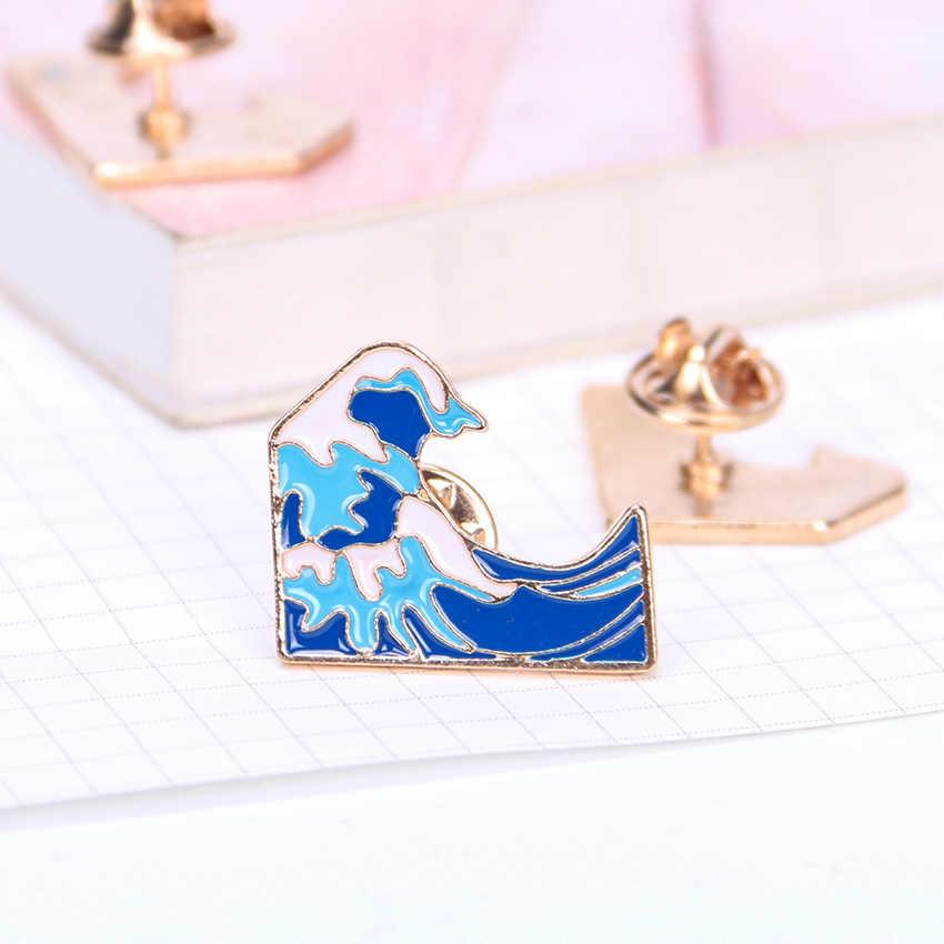 Синие волны брошь металлические броши шпильки джинсовая мода платье пальто аксессуары милые ювелирные изделия сумка булавка значок 1 шт