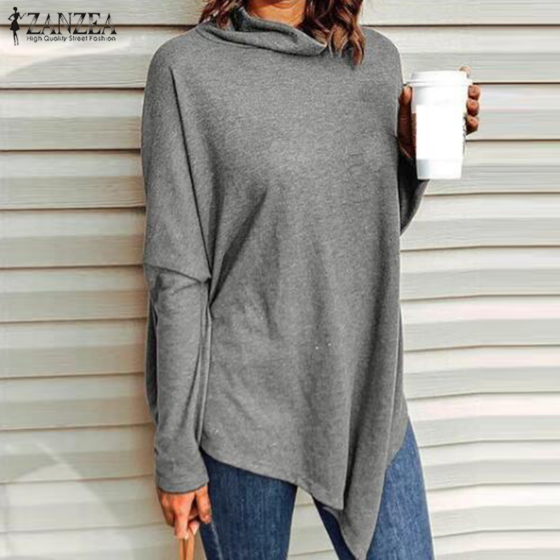 2019 ZANZEA Turtleneck Tops Women's Asymmetrical Blouse Spring Long Sleeve Shirts Female Basic Tunic Casual Pullovers Oversize