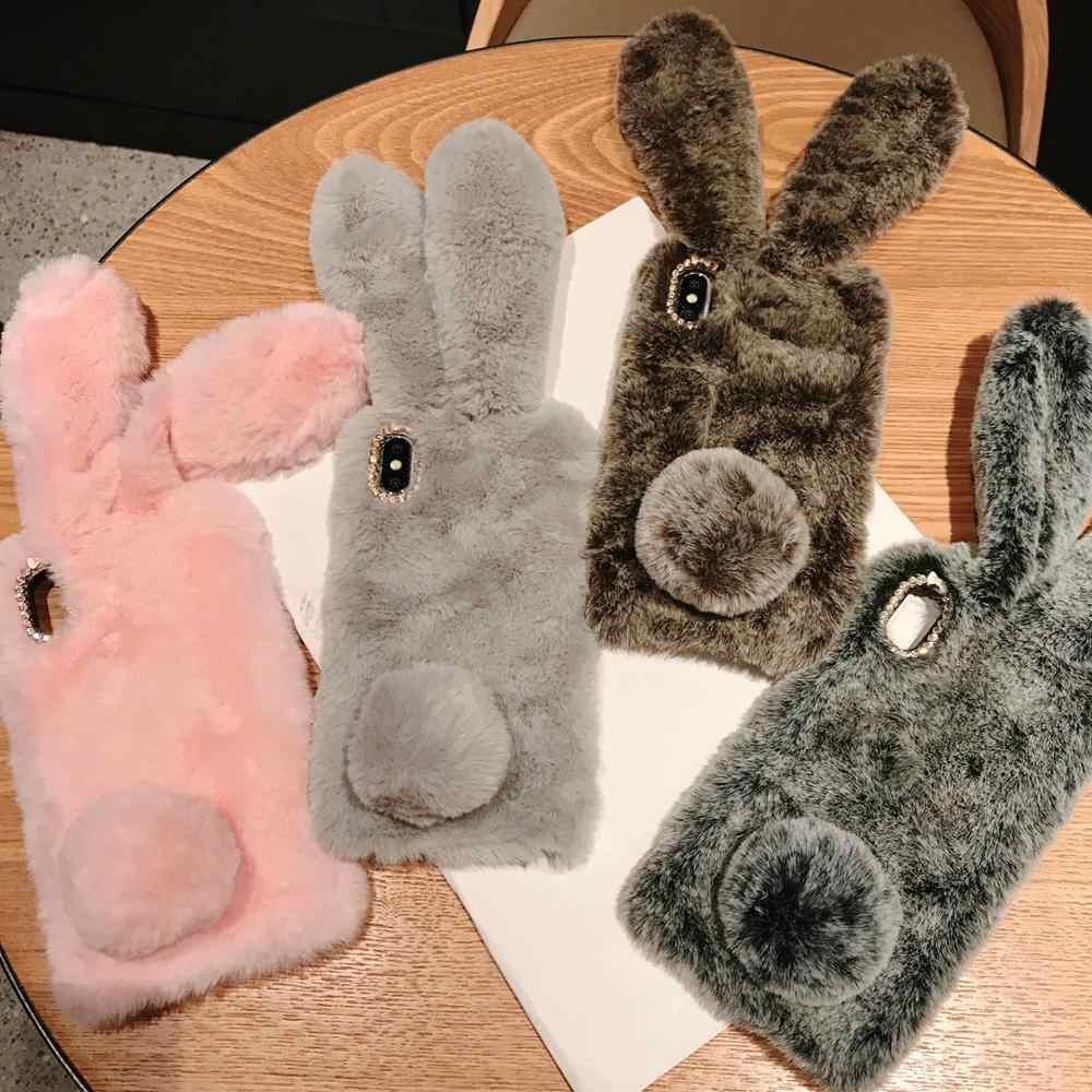 Süper komik 3D peluş tavşan kulaklar sonbahar kış moda sıcak el pembe kürklü yumuşak kapak iphone MAX XS XR 7 8 artı telefon kılıfları