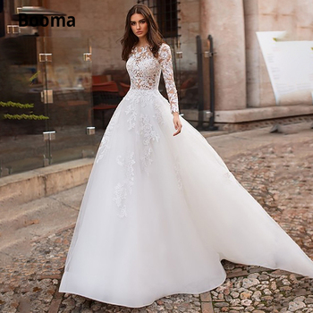Booma Elegant Lace Wedding Dresses 2020 Long Sleeves Illusion Tulle White Ivory Bridal Dress A-line Buttons Back Gowns