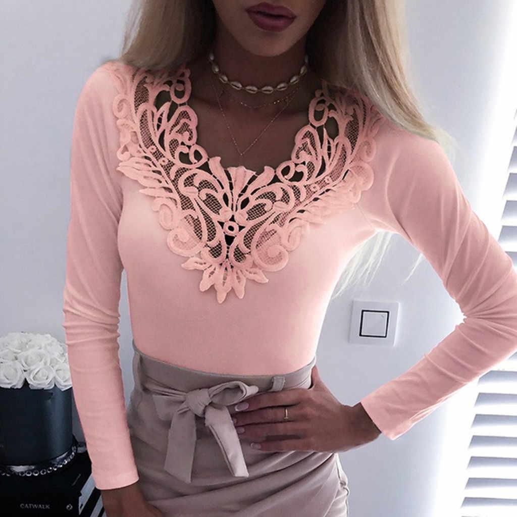 Artı boyutu moda dantel T-Shirt rahat alt tişört bayanlar seksi v yaka tunik üstleri kadın kadın uzun kollu gömlek Blusas kazak