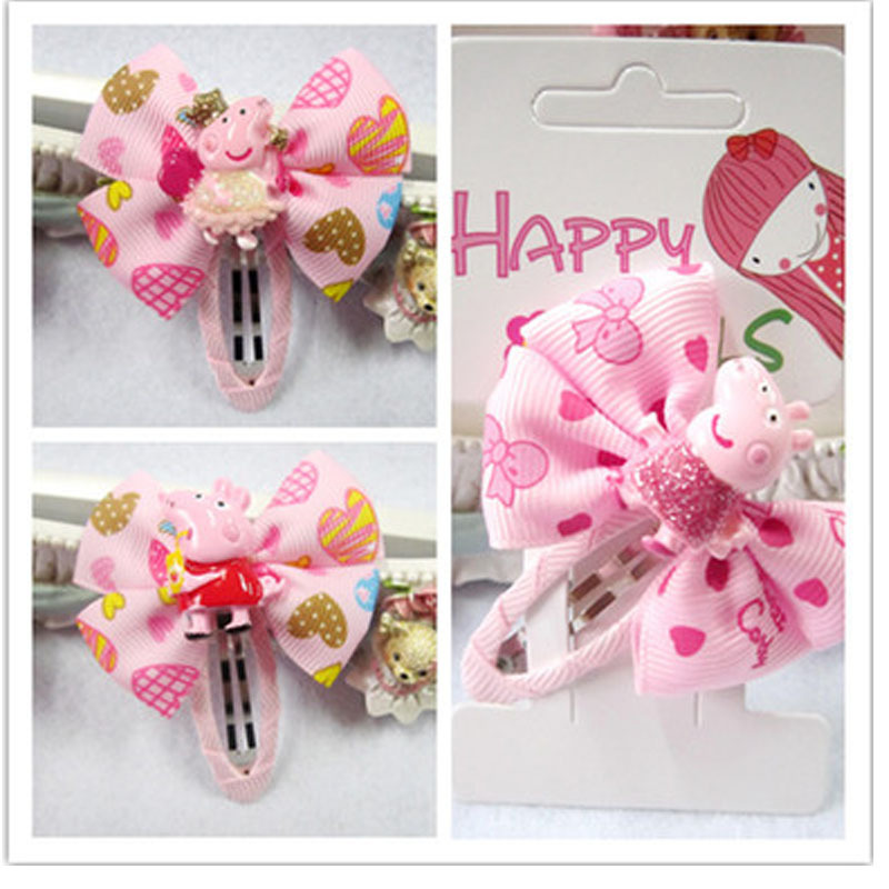 New Children Cute Cartoon Peppa Pig Bow Hairpins Barrettes Girls Lovely Colors Hair Clips Kids Baby Sweet Hair Accessories