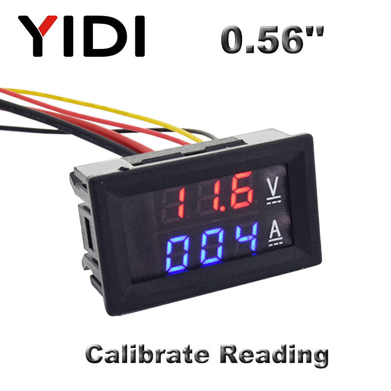 0,56 цифровой вольтметр Амперметр постоянного тока 0-100 в AC60-500V 1A 10A 50A 100A красный синий светодиодный дисплей измеритель напряжения тестер дет...
