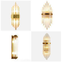 Post-Modern Simple Living Room Bedroom Bedside Wall Lamp Nordic Creative Aisle Background Crystal Glass Luxury Candlle Lights nordic simple living room wall lamp bedroom bedside lighting creative aisle background crystal glass wall sconce light fixture