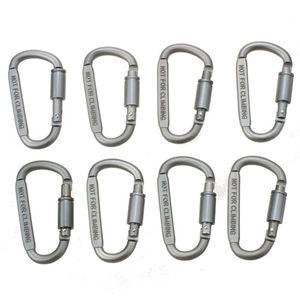 ABUO 8 pces de alumínio d ring travando durável forte e leve grande mosquetão clipe conjunto para acampamento ao ar livre  casa  pesca  caminhadas |Ferram. atividade ar livre| |  -