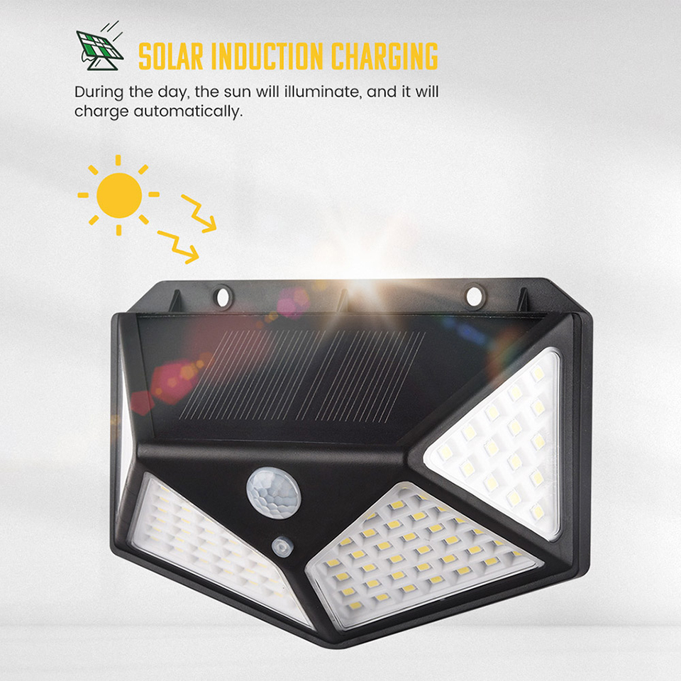 100 Led Solar Wall Lights Outdoor Solar Garden Light With PIR Motion Sensor Waterproof Solar Wall Lamp For Path Garden Security