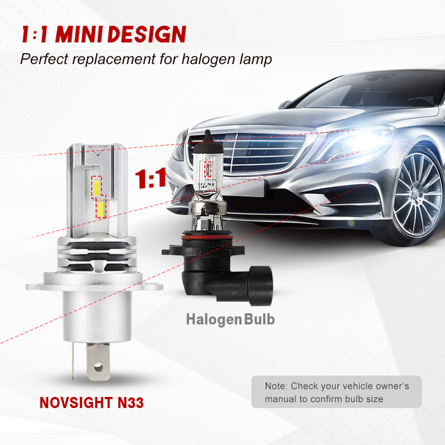 NOVSIGHT Mini Car H4 LED H7 led Headlight Bulbs H1 H8 H11 LED Lamp H7 12v 24v 9005 HB3 9006 HB4 Auto Headlamps Fog lights Kit