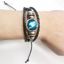 Fashion Black Leather Bracelet Fairy Tail Guild Logo Glass Cabochon  Anime Jewelry Gift for Cosplay