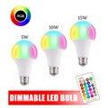 110 В 220 В E27 RGB светодиодный светильник 5 Вт 10 Вт 15 Вт RGB лампада сменная цветная светодиодная лампа RGBW с ИК-пультом дистанционного управления + режим памяти - фото