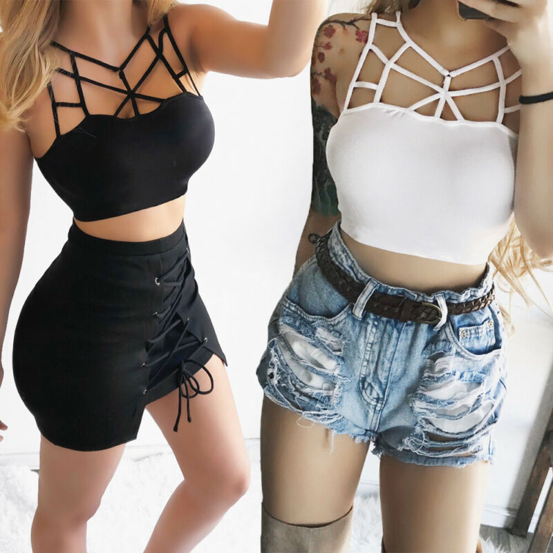 Women's Sexy Solid Camis Hollow Out Slim Bodycon O-neck  Tank Top Sleeveless Bustier Tube Crop Tank Tops