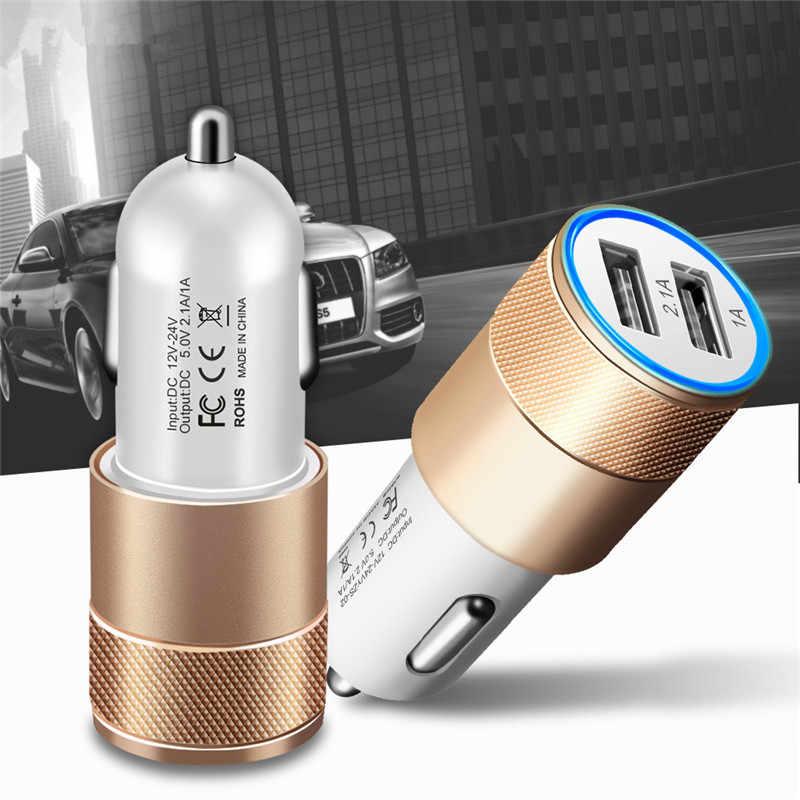 Beranang Usb Mobil Charger 5V 2.1A Logam Dual USB Aluminium Alloy Mobil Charger Cepat Pengisian Charger untuk iPhone samsung Xiaomi