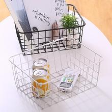 цена на Black / White Iron Storage Basket Desktop Bathroom Sorting Iron Shelf Basket Dormitory Organizer P9D3