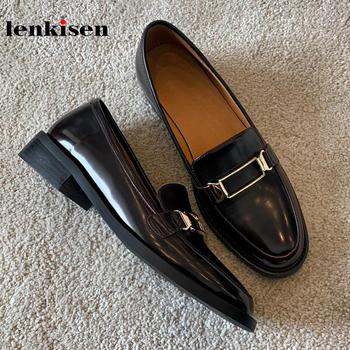 Lenkisen 2020 new spring cow leather round toe med heels metal fasteners decorations British school cozy deep mouth pumps L2f5