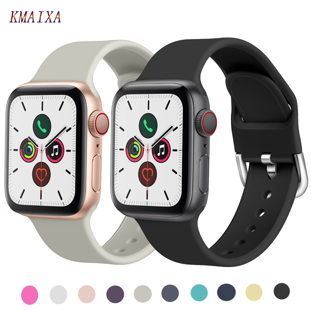 Silicone Strap For Apple Watch Band 44 Mm 38mm Iwatch Band 42mm 40mm Correa Pulseira Apple Watch 5 4 3 2 1 Watchband Bracelet 44