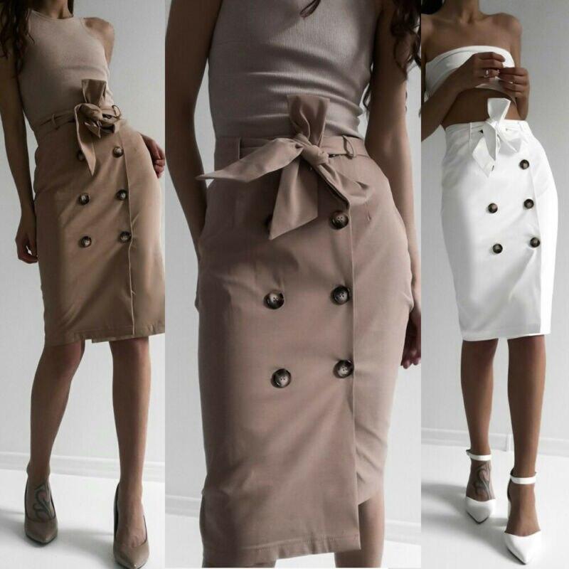 Fashion Women Tie Belt Buttons Ladies Elasticated Waist Long Skirt Summer Beach