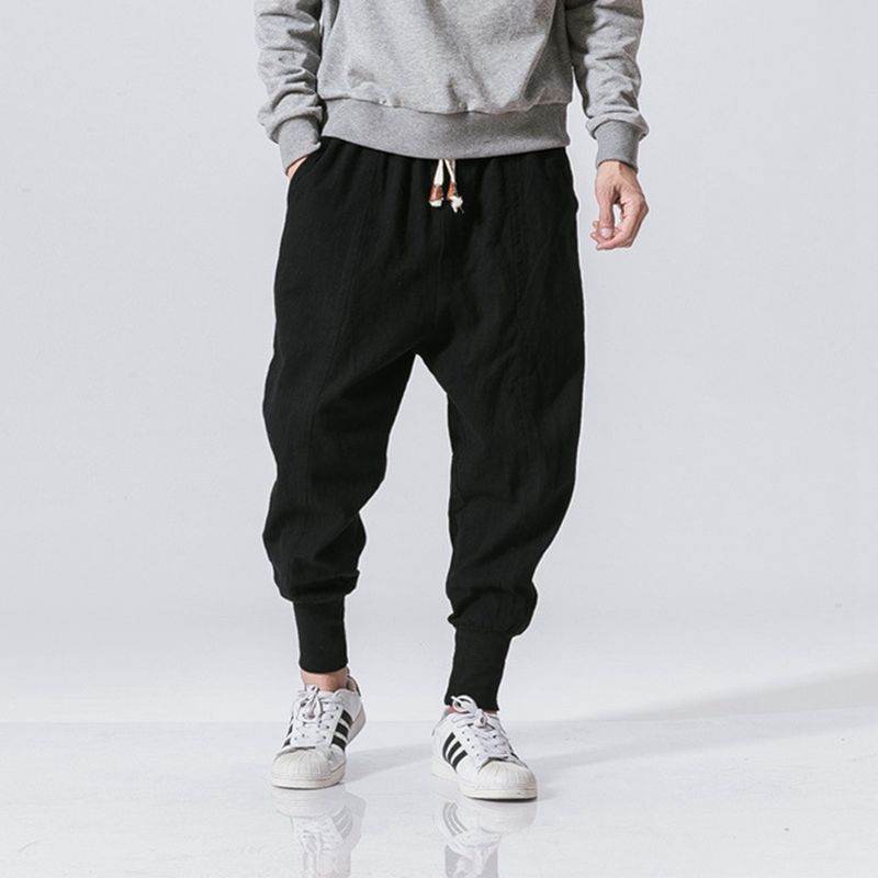 YYear Mens Casual Chinese Loose Fit Homewear Linen Harem Pants Trousers