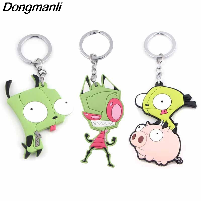 P4064 Dongmanli Funny Invader ZIM Pendant Keychain Figure PVC Silicone Double Side Car Key Rings Key Holder Gifts