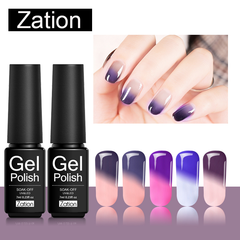 Zation 7ml Snowy Thermal Chameleon Gel Polish DIY Nail Art Temperature Change Mood Color UV Gel Polish New Arrival Gel