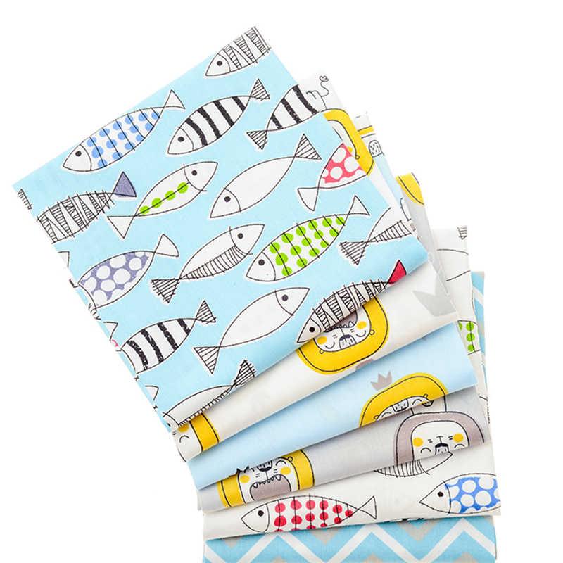 6 pièces/lot, 40x50 dessin animé lion tissu imprimé sergé coton tissu, tissu Patchwork, bricolage couture Quilting matériel pour bébé et enfants