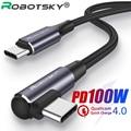 Type-C для быстрой зарядки 100W кабель-Переходник USB C на кабель USB Type-C PD КК 4,0 Быстрый зарядный кабель для передачи данных для Huawei Mate 20 Samsung S9 Macbook