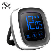 TTLIFE Large Electronic Touch Screen LED Display Kitchen Timer Electronic Digital Kitchen Cooking Timer Refrigerator Watch Timer