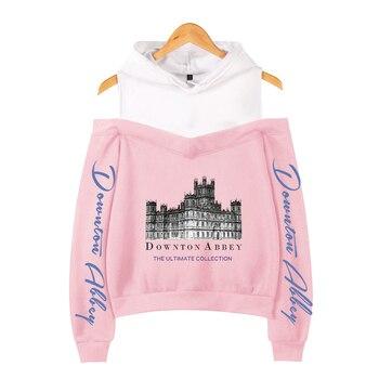 Downton Abbey print Sweatshirt short Sweatshirt shoulder-off Fashion short sexy Hip Hop kpop crop hoodies for women korean wear