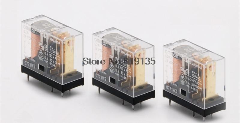 10Pcs Omron G2R 1 DC12V/24V PCB Mount 5Pin SPDT Power Relay 10A/250VACRelays   -