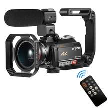 Câmara de vídeo vlog câmera 4k profissional para youtube vídeo streaming ao vivo ordro ac5 12x zoom óptico filmadora camara