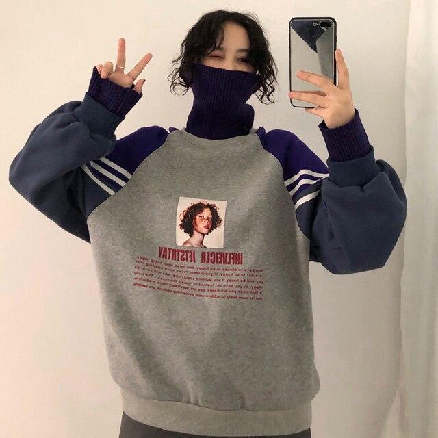 2020 Hoodie Sweatshirt Women Winter Oversize Tops Fashion Pattern Printed Sweatshirt Autumn Turtleneck Outerwear Warm Pullover 3