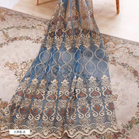 Luxurious European style Tulle embroidery French Window curtains for living room yarn mesh Finished products processing