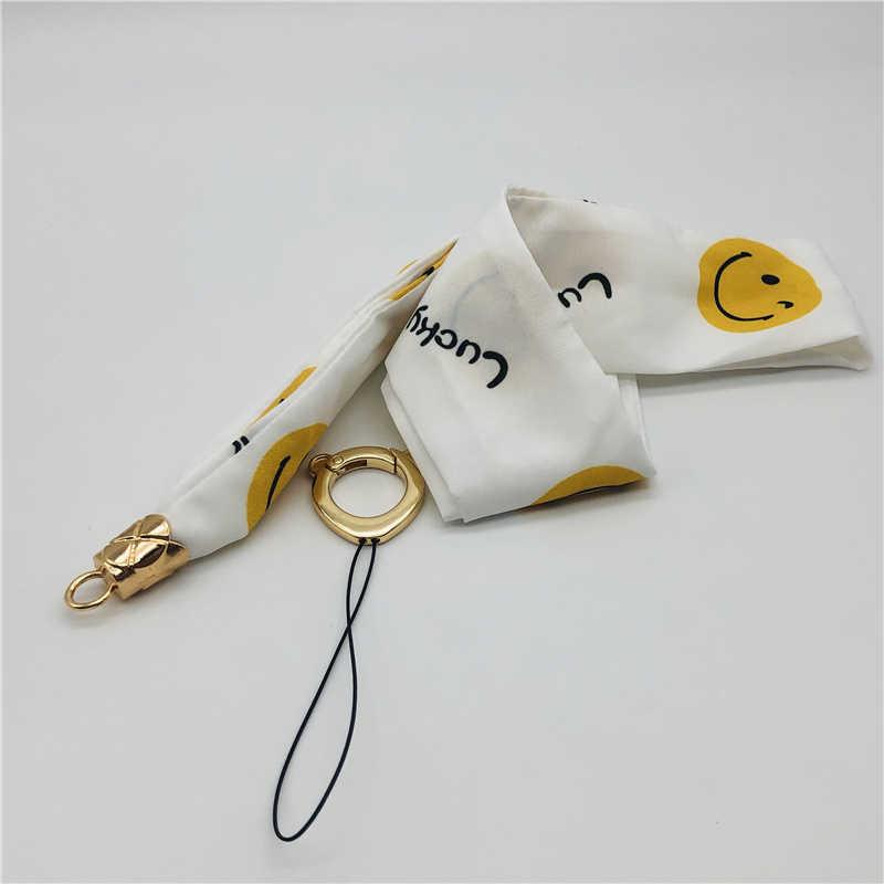 Moda drukuj pasek na szyję szyfonowa szerokie naszyjnik smycz dla AirPods klucz karty ID siłownia telefonu z USB uchwyt na identyfikator DIY smycz