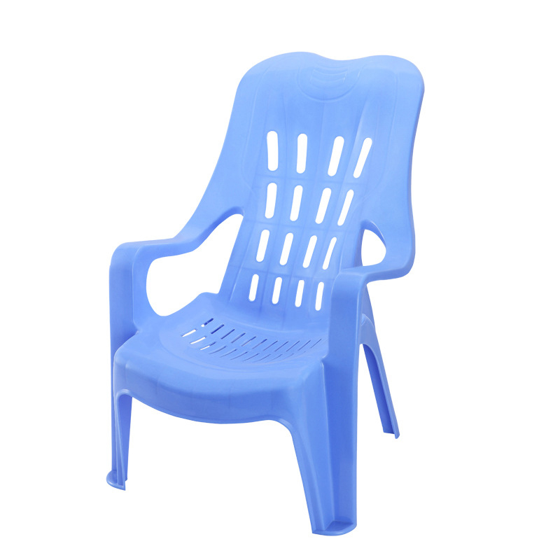 Plastic Thickened Back Beach Chair Recliner Leisure Chair Plastic High Back Armchair Large Row Chair Manufacture